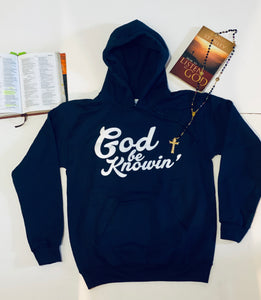 God Be Knowin' Hoodie (navy blue/white)