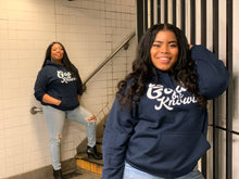 Load image into Gallery viewer, God Be Knowin' Hoodie (navy blue/white)