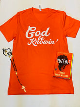 Load image into Gallery viewer, God Be Knowin' V-Neck Short Sleeve (orange/white)