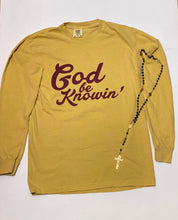 Load image into Gallery viewer, God Be Knowin' long sleeve (mustard/maroon)