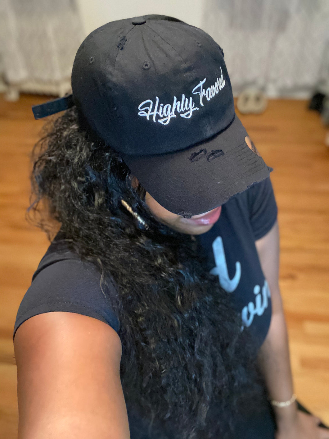 Highly Favored Hat (Black/silver)