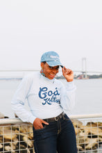 Load image into Gallery viewer, God Be Knowin' long sleeve (baby blue/ navy)