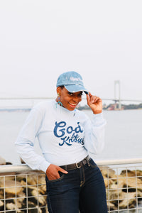 God Be Knowin' long sleeve (baby blue/ navy)