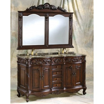 "Antique 60"" Walnut Bathroom Sink Vanity 7760- C"