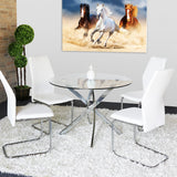 Round Dining Table Chrome Legs and Tempered Glass Top.