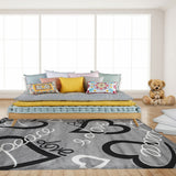 Geometric Modern Gray Heart Rug