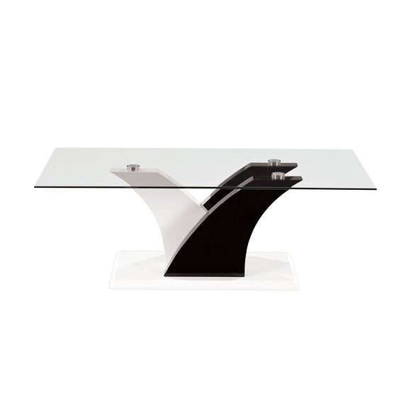 Tempered Glass White and Black Coffee Table