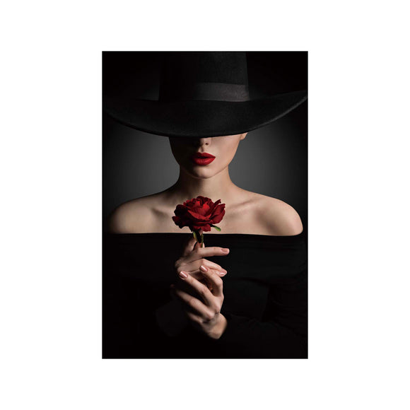 Tempered Glass Art - Women with Red Rose Wall Art Decor