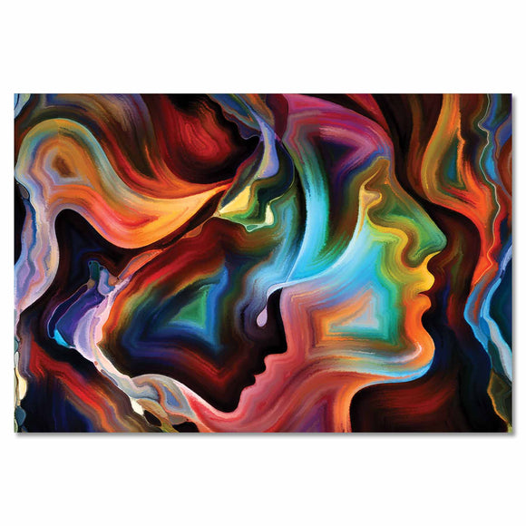 Tempered Glass Art - Abstract Woman Silhouette Wall Art Decor