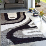 Geometric Modern Gray Waves Rug