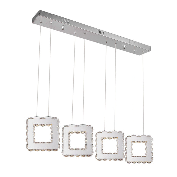 Stainless Steel and Cristal - Ceiling Lamp 3 Rings Adaptable