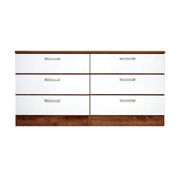 Walnut Veneer and White -  6 Drawers Dresser