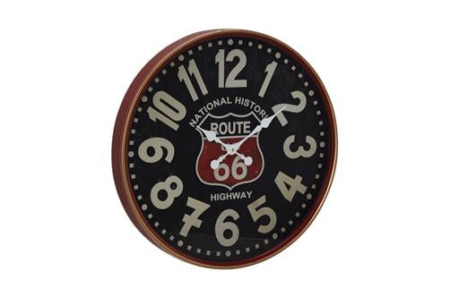 Round Rustic Black/Mahogany Brown/White/Red Wall Clock