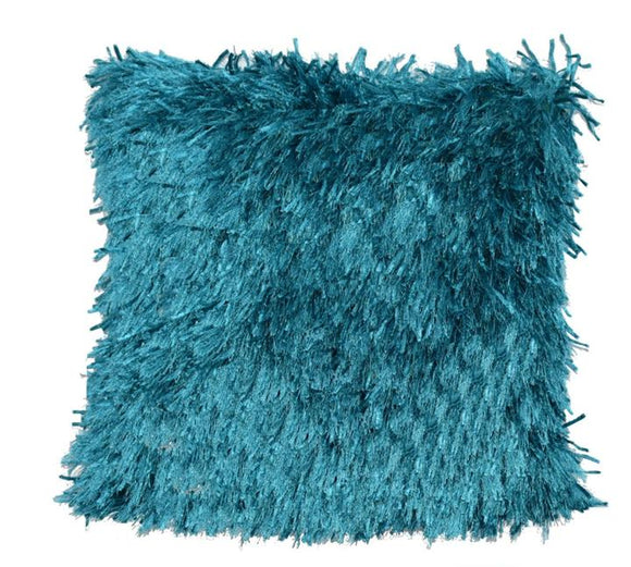 Turquoise Shaggy Lurex Throw Pillow