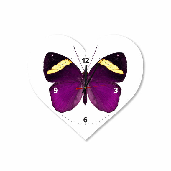 Purple Butterfly Heart Acrylic Wall Clock
