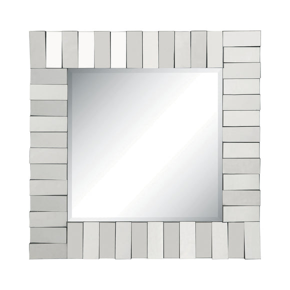 Silver Square Wall Mirror With Layered Panel - 31.5