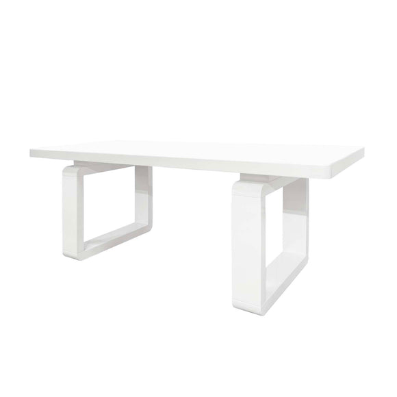 Rectangular Dining Table MDF White High Gloss Top and Leg
