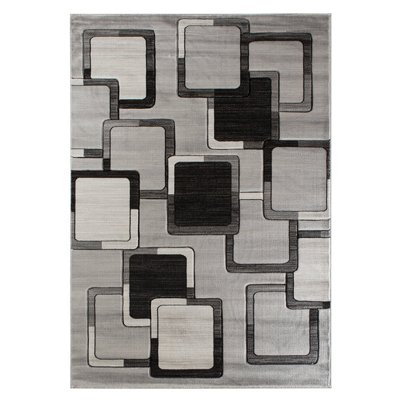 Geometric Modern Grey Abstract Rug
