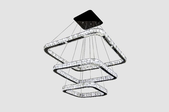 Square Chandelier - LED Lighting - Glass and Iron