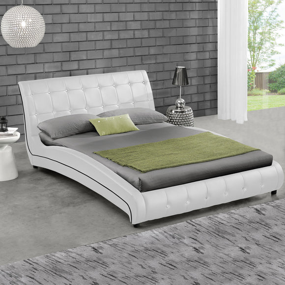 White Queen Platform Furniture Bed