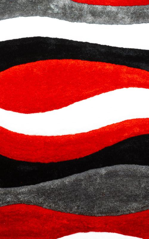 Modern Red and Grey Wavy Area Rug