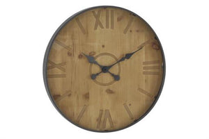 Rustic 24 Inch Round Wall Clock