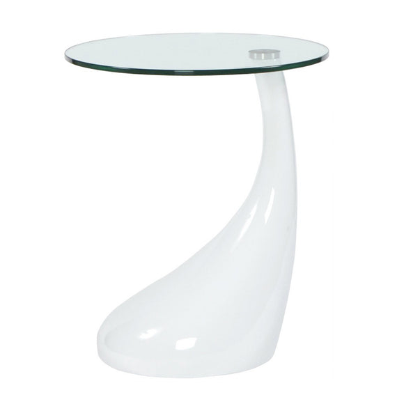 White Tear Drop End Table