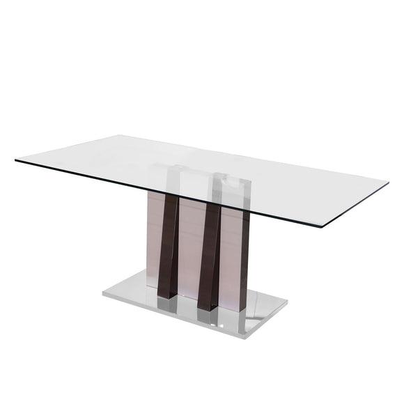 Rectangular Dining Table Dark Brown High Gloss with Stainless Steel Base and Tempered Glass.