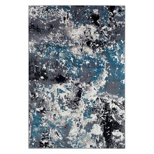 Modern Grey and Blue Abstract Rug