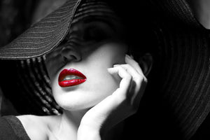 Tempered Glass Art - Striped Hat with Red Lips Wall Art Decor