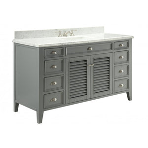 "Kalani 60"" Grey Bathroom Sink Vanity -3028-CK60S"