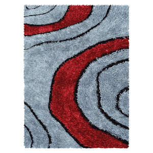 Geometric Modern Red Shaggy Rug