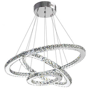 Ceiling Lamp - 3 Rings Adaptable - Lighting - Stainless Steel and Crystal