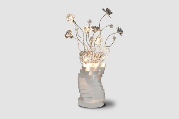 Flowers Table Lamp - Lighting - Metal and Glass 30 inch