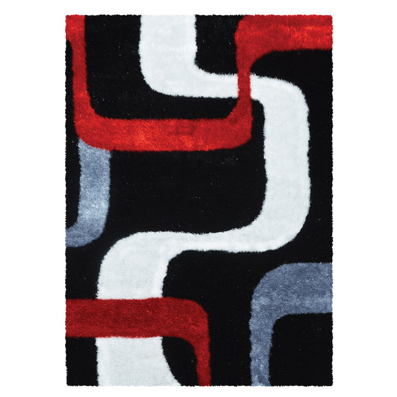 Geometric Modern Red and Black Shaggy Rug