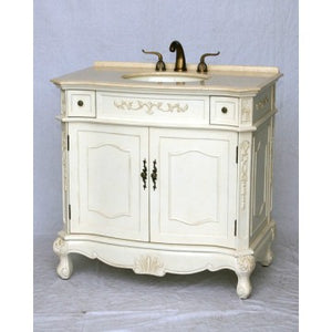 "Antique 36"" White Bathroom Sink Vanity -1905-36-261BE"