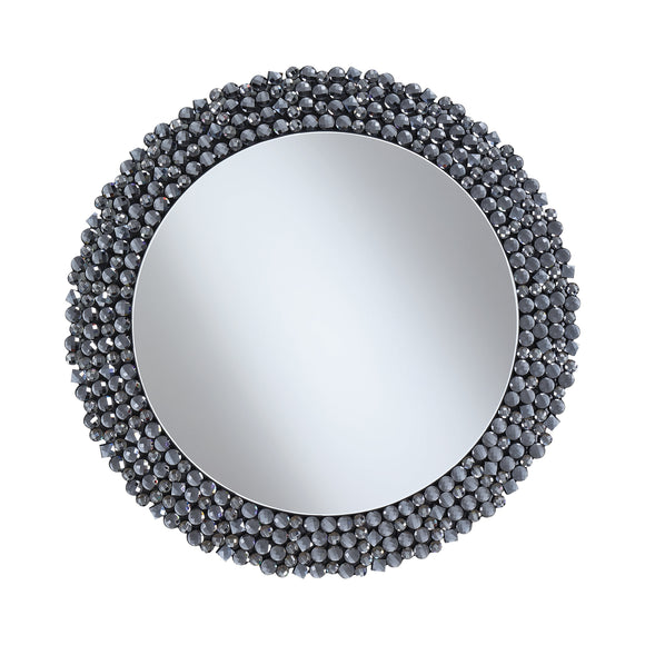 Round Wall Mirror With Textural Frame Grey - 31