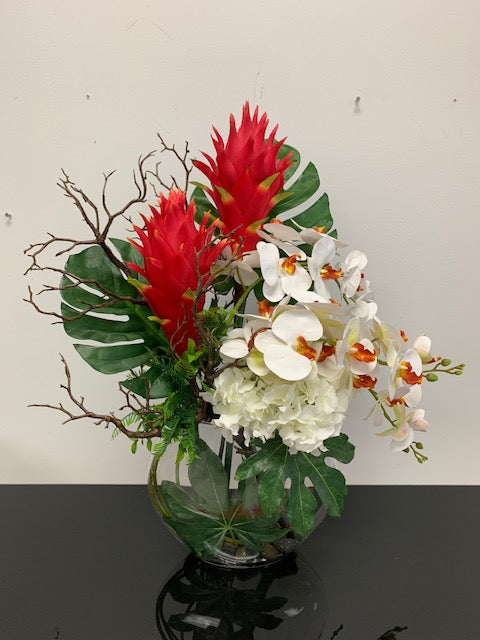 Tropical Artificial Arrangement in Glass Vase - Floral & Greenery