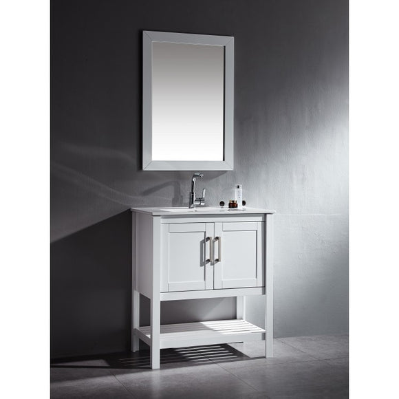 "Beach 30"" White Bathroom Sink Vanity - Beach 30"