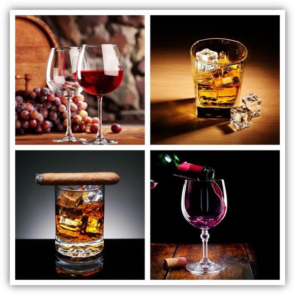 Tempered Glass Art - 4PC Whiskey & Wine Wall Art Decor