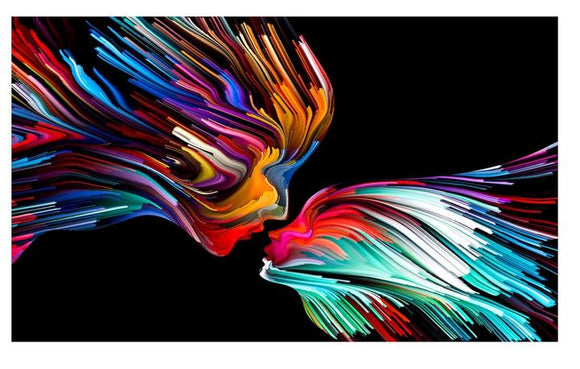 Tempered Glass Art - Kissing Rainbow Wall Art Decor