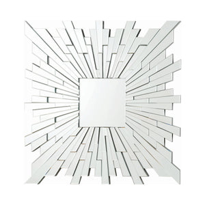 "Silver Square Sunburst Wall Mirror 39.5""X 39.5"""