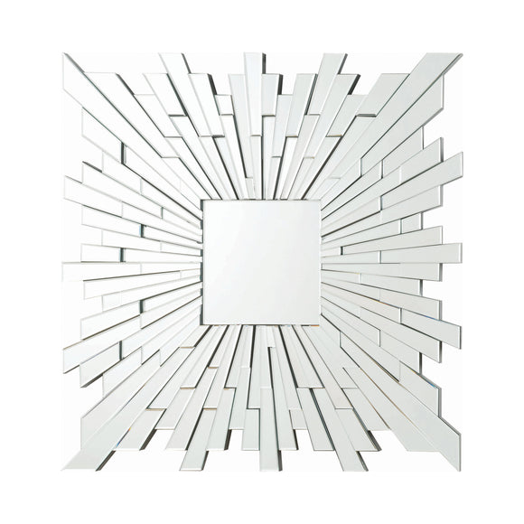 Silver Square Sunburst Wall Mirror 39.5