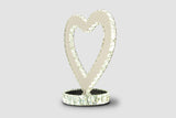 Heart Table Lamp - LED Lighting - Stainless Steel and Glass 18 inch