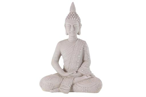 Decmode Traditional 28 X 19 Inch Gray Resin Sitting Buddha Sculpture - Home Decor