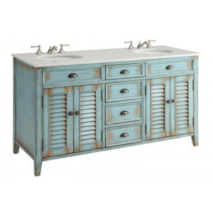 "Abbeville 60"" Distressed Blue Bathrom Sink Vanity -CF88323-60BU"