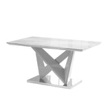 Rectangular Dining Table with Grey High Gloss and Chrome Base