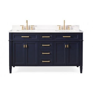 "Durand 60"" Navy Blue Bathrom Sink Vanity -1808-D60NB"
