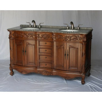 "Antique 60"" Walnut Bathroom Sink Vanity -7760-GY"
