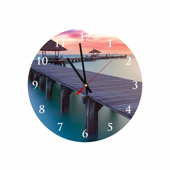 Beach Bridge Round/Square Acrylic Wall Clock
